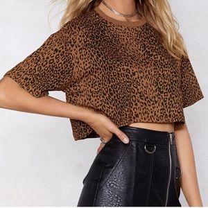 Nasty gal leopard print boxy cropped tee shirt